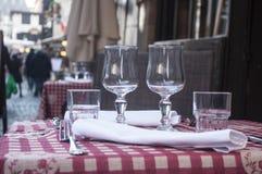 terrazzo alsaziano tradizionale del ristorante Immagine Stock Libera da Diritti