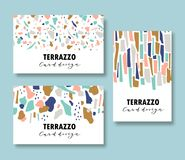 Terrazzo card template set. Vector abstract backgrounds with chaotic stains for corporate identity. Vector illustration. Terrazzo card template set. Vector Stock Image