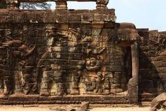 Terrazzo degli elefanti, Angkor Thom Fotografie Stock Libere da Diritti