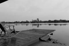 Terrazzo dell'acqua, immagine in bianco e nero Fotografie Stock Libere da Diritti
