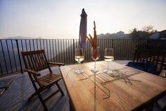 Terrazzo dell'assaggio di vino Immagine di colore Immagine Stock