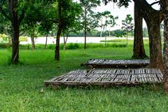 Terrazzo di bambù per una tenda fotografia stock libera da diritti