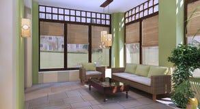 Terrazzo di estate nello stile orientale Fotografia Stock