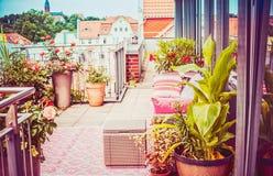 Terrazzo di estate o balcone grazioso dell'attico con i vasi del patio dei fiori Immagine Stock