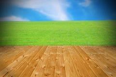 Terrazzo di legno con la bella vista Fotografie Stock