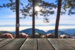Terrazzo di legno con la vista di prospettiva sulle colline della montagna e sui wi della foschia immagini stock libere da diritti