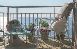 Terrazzo di vista del mare in Mallorca fotografie stock