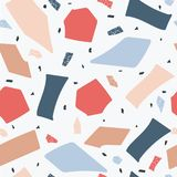 Terrazzo floor marble seamless hand crafted pattern abstract vector illustration. Terrazzo floor marble seamless hand crafted pattern in blue and red the royalty free illustration