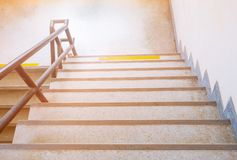 Terrazzo floor stairs walkway down. select focus with shallow depth of field.  stock image