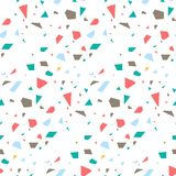 Terrazzo flooring seamless vector pattern. Coral red and blue colors repeating background royalty free illustration