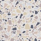 Terrazzo naadloos patroon Marmeren bevloering in pastelkleuren Opgepoetste rotsoppervlakte Witte achtergrond met gekleurde stenen stock illustratie