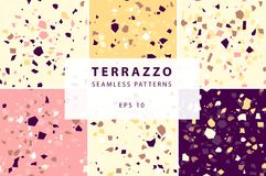 Terrazzo seamless patterns in decorative style royalty free illustration