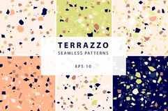 Terrazzo seamless patterns in decorative style stock illustration