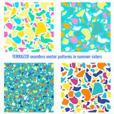 Terrazzo seamless vector patterns in summer colors. Collection of 4 seamless vector patterns - TERRAZZO in summer colors Stock Photos