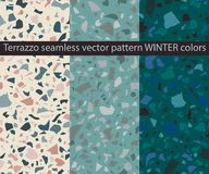 Terrazzo seamless vector patterns in winter colors. Collection of 4 seamless vector patterns - TERRAZZO in winter colors Vector Illustration