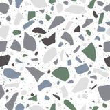 Terrazzobevloering, naadloos patroon in pastelkleuren Opgepoetste rotsoppervlakte Tedere witte achtergrond met gekleurde stenen royalty-vrije illustratie