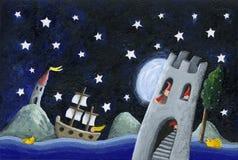 Terre de nains - château pendant la nuit illustration de vecteur