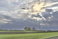 Terre de rayons de soleil Photographie stock libre de droits