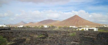 Terre en friche et règlement 1 de Lanzarote Images libres de droits