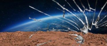 Terre martienne d'habitacle cassé Photo stock