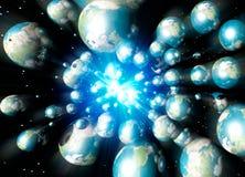 Terre multiple che accelerano nello spazio Immagini Stock Libere da Diritti