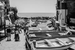 5 Terre Riomaggiore, Liguria Italien Arkivfoto