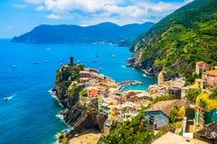 5 Terre Vernazza, Liguria Italien Arkivbilder