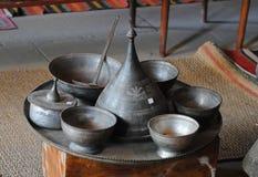 Terrecotte di rame tradizionali in Lahic, Azerbaigian fotografie stock libere da diritti