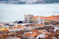 Terreiro do Paço, seen from the Castle royalty free stock images