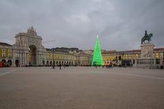 Terreiro do Paco, με ένα χριστουγεννιάτικο δέντρο, στη Λισσαβώνα Στοκ Εικόνες