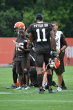 Terrelle Pryor Sr Cleveland Browns. Terrelle Pryor Sr, #11, wide receiver for the NFL franchise the Cleveland Browns, talks with teammates as they practice in stock image