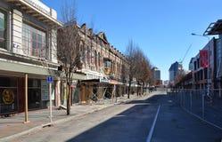 Terremoto de Christchurch - calle principal abandonada Fotografía de archivo