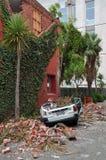 Terremoto de Christchurch - coche machacado Foto de archivo libre de regalías