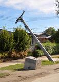 Terremoto de Christchurch - colapso de pólos de potência Fotografia de Stock