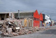 Terremoto de Christchurch - daño de la calle del St Asaph Foto de archivo libre de regalías