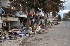 Terremoto de Christchurch - dano da rua de Colombo Imagem de Stock