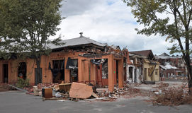 Terremoto de Christchurch - dano da rua do St Asaph Fotos de Stock Royalty Free