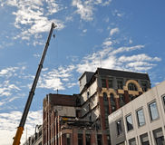 Terremoto de Christchurch - demolición del edificio de MLC Foto de archivo