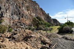 Terremoto de Christchurch - derrumbamiento de los acantilados de Sumner Fotografía de archivo libre de regalías