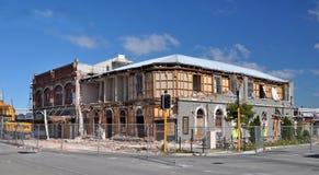 Terremoto de Christchurch - hotel en un magro Fotos de archivo