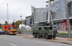 Terremoto de Christchurch - jefaturas del rescate Fotografía de archivo