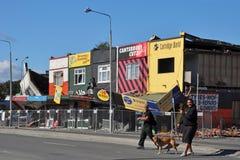 Terremoto de Christchurch - lojas da avenida de Linwood Fotos de Stock