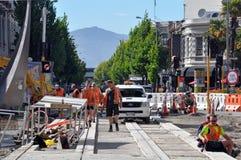 Terremoto de Christchurch - nuevas pistas de la tranvía Imagen de archivo libre de regalías