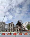 Terremoto de Christchurch - ruinas anglicanas de la catedral fotos de archivo