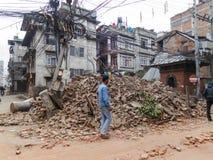 Terremoto de Nepal em Kathmandu Foto de Stock Royalty Free