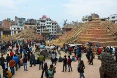 Terremoto de Nepal en Katmandu Foto de archivo libre de regalías