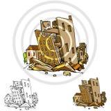 Terremoto principale della città illustrazione di stock