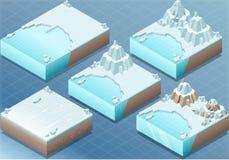 Terreno ártico isométrico con el iceberg y el soporte