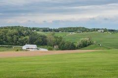 Terreno coltivabile che circonda William Kain Park nella contea di York, Pennsylva Immagine Stock Libera da Diritti