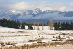 Terreno coltivabile con la neve di inverno Fotografia Stock Libera da Diritti